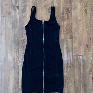 Ribbed and smooth zip up tank little black dress